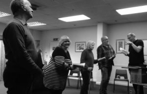 Brian Baxter, Liz Dowling, Wendy Ash, Guy Peskin in rehearsals with Andrew Knight
